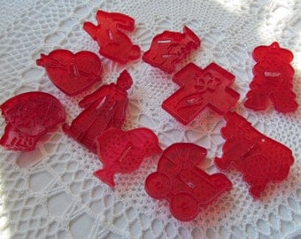 10 Vintage Cookie Cutters Lot Red Plastic HRM Crown With Handles Baking Clown Rabbit Witch Cow Cross Heart