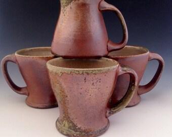 Handmade Set of 4 Wood Fired Coffee Mugs, Rustic Pottery Mugs, Stoneware, Handcrafted Ceramic Mug Set, 10 oz., Teacups, Couples Gift Set.