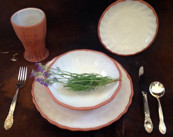 Made To Order, Handmade White Pottery Dinnerware Sets, Set of 4 Pieces, Dinner Plate, Dessert Plate, Tumbler and Bowl.