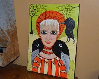 Folk art crow painting - acrylic - S Moody black bird and lady art - raven