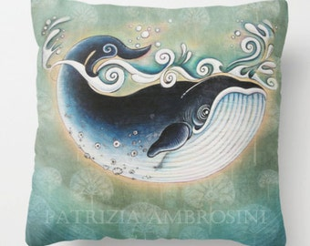 "Pillow ..PRINT art.. animal art - woodland art - fine art -living room - childrens room - nursery - babies - """" The Blue Whale """""