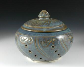 Light Blue Decorative Art Garlic Keeper / carving by Douglas Bechler Ceramic Jar