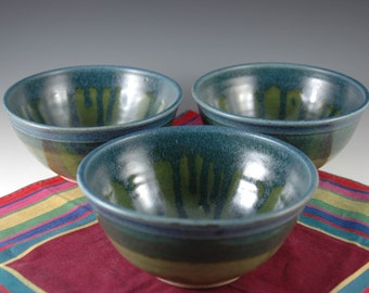 Set of 3 - Slate Blue / Olive Green Stoneware Soup / Serving bowl by Douglas Bechler