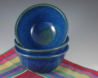 Three - Blue green 8 oz Ice Cream Bowls Stoneware Pottery
