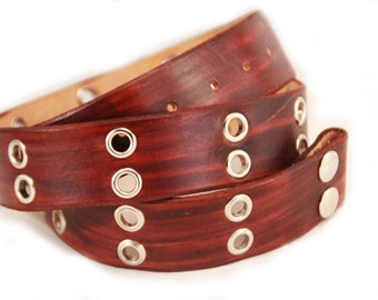 Brown leather snap belt with grommets