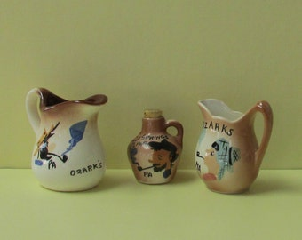 Ozark Souvenir Collection of Three, Two Small Pitchers and One Small Shaker with Cork Stopper