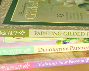 Lot of Three Decorative Painting Books for Flowers