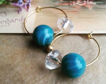Beaded Hoop Earrings Made With Vintage Turquoise Blue Beads, Colorful Beaded Earrings For Women