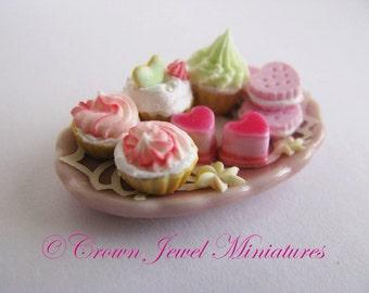 1:12 Be My Valentine Dessert Tray by IGMA Artisan Robin Brady-Boxwell - Crown Jewel Miniatures