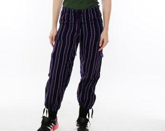 Vintage 80's striped casual pants, beachy, South American, elastic waist, drawstring, drawstring cuffs - XS / Small