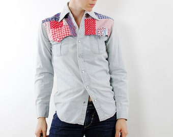 Vintage 70's western snap button shirt, lightwash chambray denim, red white & blue patchwork yoke - Small