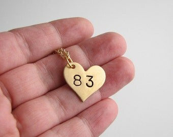 lucky number heart necklace . hand stamped brass heart necklace . personalized number necklace