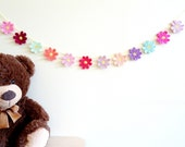 Nursery decor for girl - crochet flower garland - 1st birthday party decorations - girls nursery ideas - baby shower garland ~31.5 inches