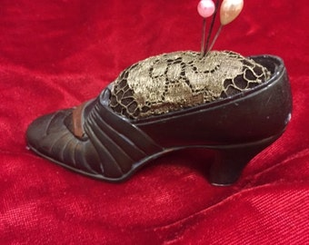 X Metal antique Pincushion Shoe with bullion lace and 3 pins Salt Lake City (FFs1024)