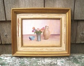 reserved for Cherry V. Weley Still Life with Flowers Painting - Small Framed - Dutch Holland Netherlands