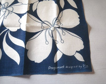 Fragonard Blue & White Poppies Linen Towel Designed by Pim 1970s New Unused