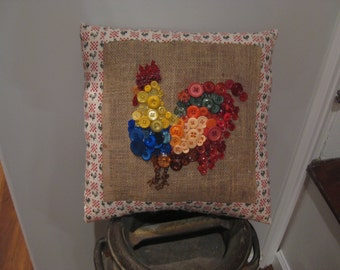 Button/Beads Rooster Accent Pillow Handmade New 14 Wide 14 Tall