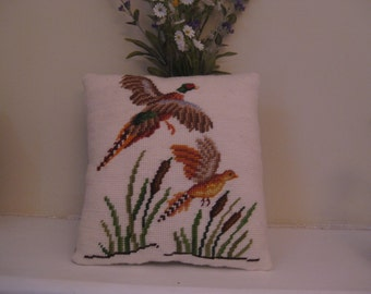 Needlepoint Quail Accent Pillow Handmade New 8 1/2 Wide 9 Tall