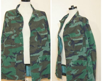 90s Camo Jacket Military Army Large Oversized Cargo Grunge