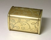 Vintage Brass Trinket Box with Floral Engraving - circa 194's
