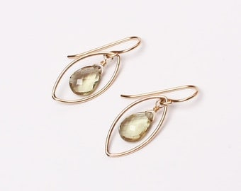 Olive Quartz in 14k Gold-Filled Marquis Earrings, Simplistic Earrings, Lula Designs, Olive and Gold