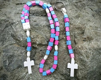 Girl's First Communion Gift Special-Lego Rosary and Lego Chaplet - The Original Catholic Lego Rosary - Pink & Blue (The Cotton Candy)