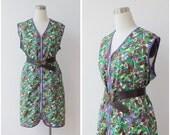 1960's Mod Dress XL, Plus Size Mini Dress, Plus Size Tunic Top, Oversized Tunic, Sleeveless Cotton Psychedelic Dress