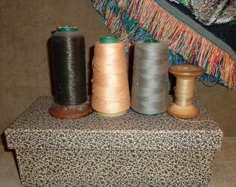 4 Antique wood Spools of Thread instant display