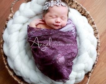 Baby Stretch Lace Wrap, Baby Lace Wrap, Newborn Wrap, Newborn Girl, Layering Fabric, Newborn Photo Prop, Ready to Ship
