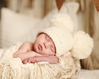 Crochet Baby Hat, Crochet Baby Pom Pom Hat, Newborn Double Pom Pom Hat, Choose Any Color, Newborn Photography Prop