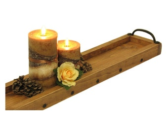 Candle Centerpiece Tray, Wooden Tray Candle Holder, Long Wood Table Centerpiece, Mantle Candle Holder, Wedding Gift, Anniversary Gift