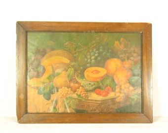 Vintage Fruit Print in Wood Frame with Glass Fruit Still Life Kitchen Art Wall Hanging Orange Green Retro Decor