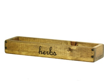 Long Wood Box, Wood Centerpiece, Herb Planter Box, Candle Holder, Window Box, Candle Box, Custom Engraving Available