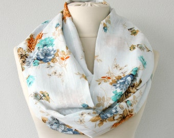 Floral scarf loop scarf infinity scarf circle scarf light blue gauze cotton scarf summer scarves spring fashion accessory women gift for her