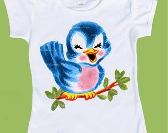 Blue Bird Shirt, Vintage Bird,One Piece Baby, baby girls clothes, baby boys clothes,  baby shower, baby T-Shirt by ChiTownBoutique.etsy