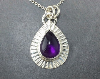 Pear shaped Amethyst set in a hand stamped Sterling Silver Pendant, One of a Kind, Ready to Ship