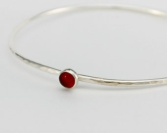 Handcrafted Sterling Silver Wire and Carnelian Stackable Bangle Bracelet Minimalist Contemporary Artisan Jewelry Design 9420566031716
