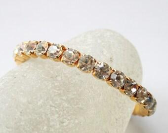 Vintage clear crystal bangle.  Rhinestone bangle.