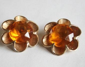 Vintage amber glass earrings.  Clip on earrings