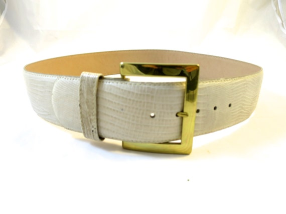 vintage white wide leather belt iguana by