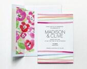 Watercolor Wedding Invitation - Horizon Lines in Coral - Modern Wedding Invitation