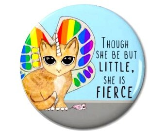 Rainbow Butterfly Unicorn Kitty Magnet or Pinback Button-W12