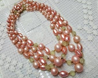 Wedding Beads Beautiful Art Deco necklace in Blush Peach