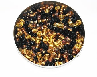Shades of brown seed beads