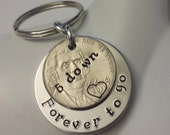 5 Years Down and Forever To Go Wedding Anniversary Key Chain with Heart Stamped Around 2011 Date on Nickel / Gift for Him or Her