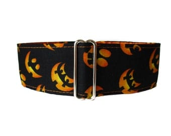 Halloween Martingale Collar, 2 Inch Martingale Collar, Pumpkin Martingale Collar, Orange and Black, Halloween Dog Collar