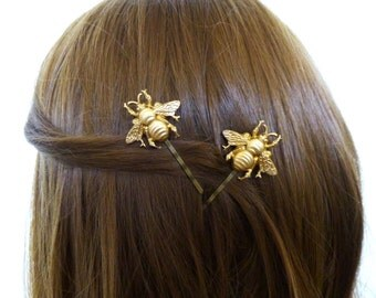 Bridesmaid Hair Clips Gold Bridal Bobby Pin Bride Headpiece Head Piece Garden Rustic Woodland Wedding Accessories Wife Womens Gift For Her