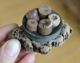 STARS - Sea Worn Crinoid Fossils - Sea Worn Sea Metal Pulley - Cork - Scottish Beach Finds (4482)