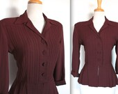 Vintage 1940s Blouse // 30s 40s Brown Crepe Suit Jacket with Pleated Peplum //  // DIVINE