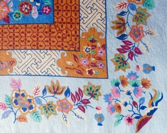 Vintage 1960s Oscar de la Renta Silk Scarf // 60s70s  Designer Blue Floral Print Scarf // Made in Japan